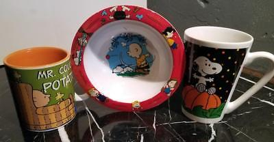 Charlie Brown Halloween Theme (3-Lot Charlie Brown Snoopy Halloween Mr Couch Potato Themed Cups Mugs Bowl)
