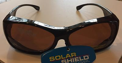 SOLAR SHIELD POLARIZED FITS OVER - CLASSIC - TORTOISE WITH AMBER LENS  - SIZE (Fit Overs Classic Sunglasses)