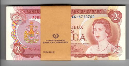 Canada Consecutive Bundle $2 Dollars 1974 P-86a UNC Lawson-Bouey AGH Banknote