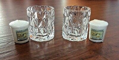 YANKEE CANDLE CRYSTAL CLEAR FRACTAL 2 VOTIVE HOLDER SET AND WEDDING DAY CANDLES