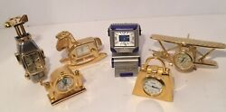 Lot Of 6 Timex Desktop Clocks COLLECTABLE Computer Golf Bag MINI-CLOCK As Is