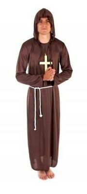 Mens Brown Hooded Monk Friar Tuck Robin Hood Jedi Fancy Dress Costume