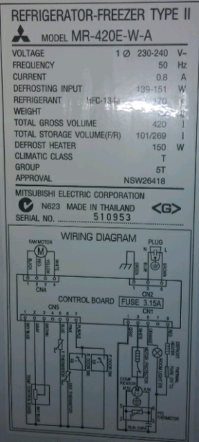 Pleasant Mitsubishi Electric Fridge Freezer 420 Lt Fridges Freezers Wiring Digital Resources Zidurslowmaporg