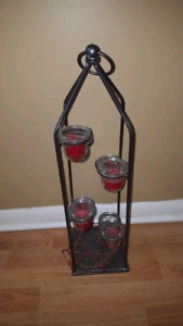Iron and Glass Candle Holder