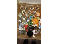 Box of mixed plates, cups, teapot, wine glasses, knives etc - Free
