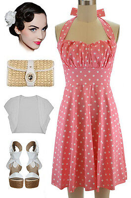 PLUS SIZE 50s Style Lt Coral w/White POLKA DOTS Pinup Betty HALTER TOP Sun Dress