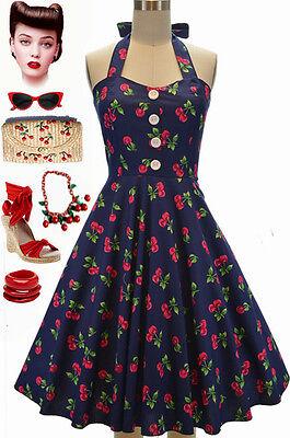 50s Style PLUS SIZE Miss Mabel NavyBlue CHERRY BOMB Print Pinup HALTER Sun Dress
