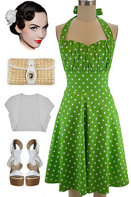 PLUS SIZE 50s Style GREEN with White POLKA DOTS Pinup Betty HALTER TOP Sun Dress