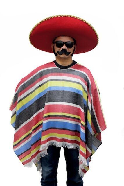 Mens Adult Mexican Poncho Wild West Cowboy Bandit Blanket Fancy Dress Costume