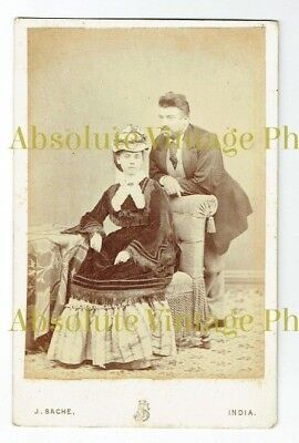 EARLY CABINET PHOTO YOUNG FASHIONABLE COUPLE J. SACHE STUDIO INDIA ANTIQUE 1870S