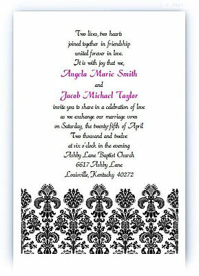 - 100 Personalized Custom Black Damask Bridal Wedding Invitations Set