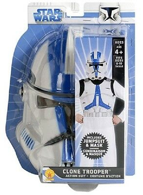 Clone Trooper Action Suit Kit Star Wars Movie Soldier Halloween Child Costume
