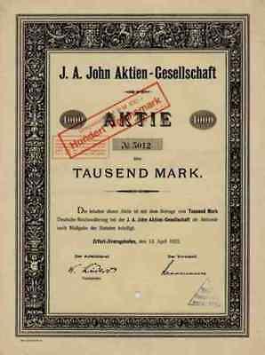 J. A. John VEB 1922 Erfurt Ilversgehofen 1000 Mark Historische Wertpapiere TOP