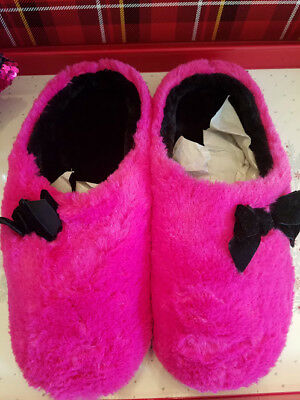 (INC International Concepts Women's Plush Bow Clog Slippers Pink - Size XL 11/12)