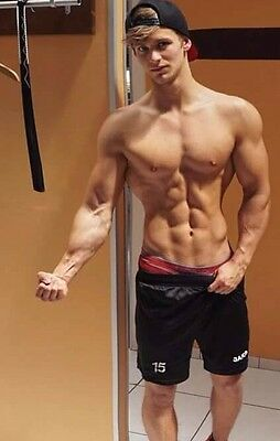 Shirtless Muscular Male Ripped Blond Jock Physique Flexing Hunk PHOTO 4X6 C2165