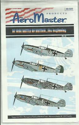 Aeromaster Decals 48-583 Messerschmitt Bf109E-3/E-4 decals in 1:48 Scale
