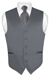 Mens-CHARCOAL-GREY-Tie-Dress-Vest-and-NeckTie-Set-for-Suit-or-Tuxedo
