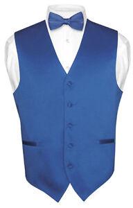 Mens-ROYAL-BLUE-Dress-Vest-BOWTie-Set-for-Suit-or-Tuxedo