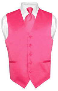 Mens-HOT-PINK-FUCHSIA-Tie-Dress-Vest-and-NeckTie-Set-for-Suit-or-Tuxedo