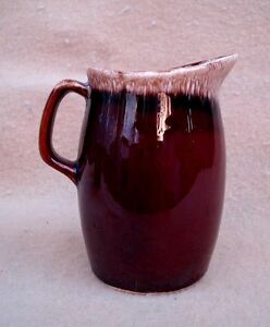 Vintage HULL POTTERY Chocolate Brown Drip Glaze Creamer Pitcher ~ Made in USA