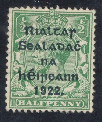 IRELAND: Free state stamp. 1/2d green. Appears unused, no gum.
