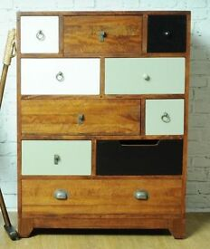 Vintage Multi-Coloured 10 Drawer Chest - Free Delivery - New