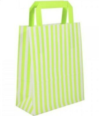 68 CANDY STRIPE LIME GREEN & WHITE PAPER CARRIER BAGS PARTY GIFT BAG