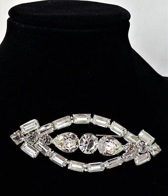 Warner Rhinestone Brooch, Vintage Women's Costume Jewelry, Large Pin Sash Bride