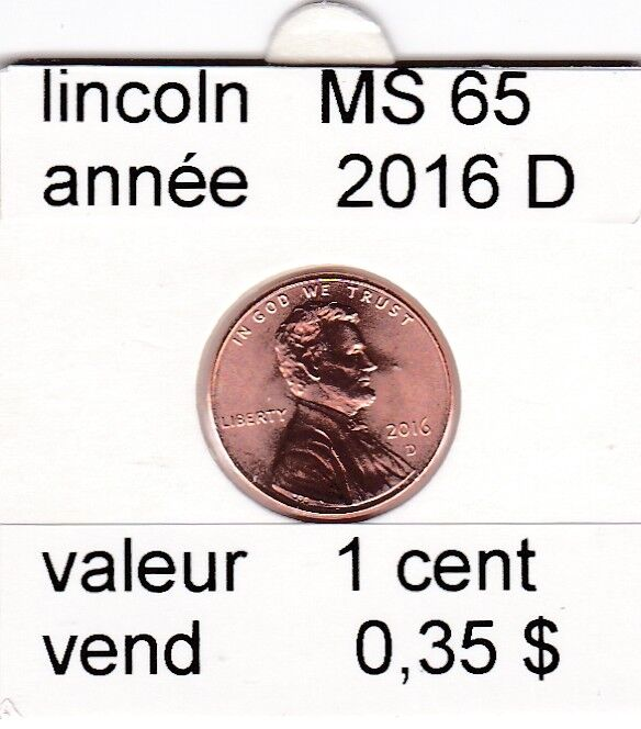e2 )pieces de 1 cent  2016  D  lincoln &