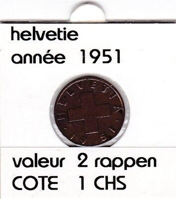 S 1) pieces suisse de 2 rappen de 1951   voir description