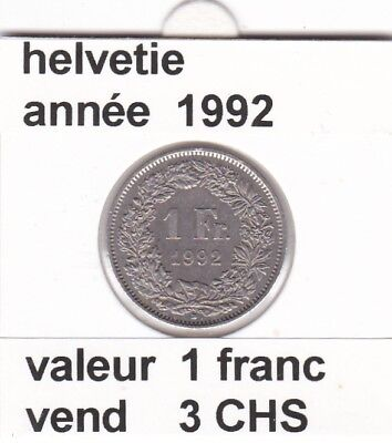 S 2) pieces suisse de 1 franc de 1992      voir description