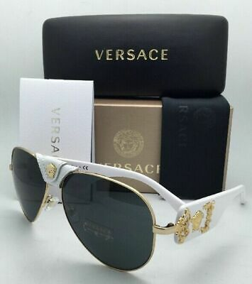 New VERSACE Sunglasses VE 2150-Q 1341/87 Gold & White Aviator Frames Grey Lenses