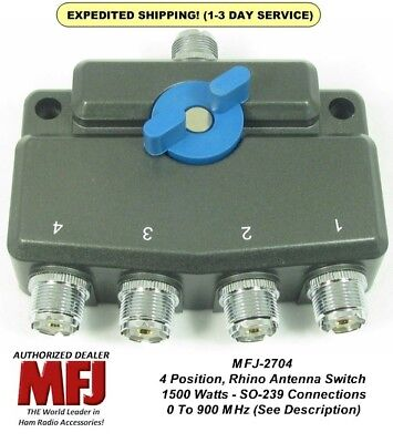 MFJ-2704, 4 Position Antenna Switch,  DC- 900 MHz, 1.5 KW Gold Plated Contacts Mfj Antenna Switch