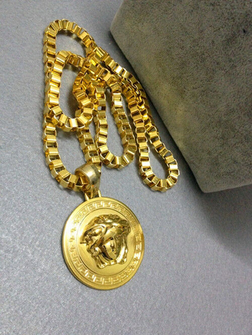 medusa kette chain necklace pendant gilded gold hiphop rap. Black Bedroom Furniture Sets. Home Design Ideas