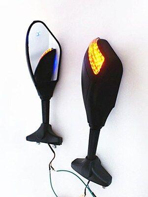 Matt Black Motorcycle LED Turn Signal Racing Rear Mirrors for Kawasaki cruisers