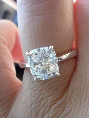 Natural Solitaire 1.00 Ct. Cushion Cut Diamond Engagement Ring J, VVS2 GIA 14k