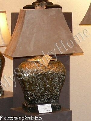 Large ANTIQUE PITTED BRONZE Table Lamp Brown Metallic Masculine NEIMAN (Antiqued Brown Table Lamp)