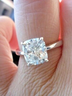 1.00 Ct Cushion Cut Solitaire Diamond Engagement Ring 14K GIA G,VS1 Natural GIA