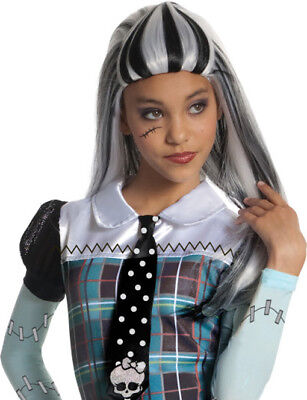 Girls Monster High Frankie Stein Wig Costume Black White Hair Child Frankiestein