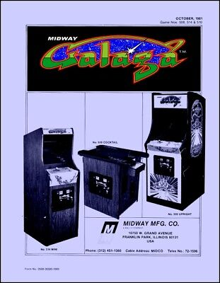 Galaga Game Operations/Service/Repair Owners Manual/Coin-Op  Arcade Machine   UB for sale  Farmington