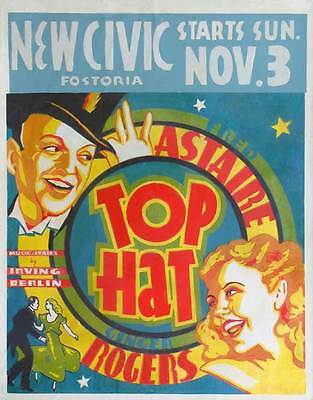 Half Top Hat (TOP HAT Movie POSTER 22x28 Half Sheet C Fred Astaire Ginger Rogers Erik)
