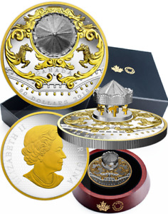 2018 Antique Carousel $50 6OZ Pure Silver Gold-Plated Proof Coin