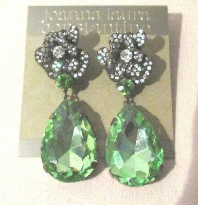Joanna Laura Constantine Earrings Pierced Green Stone Clear Rhinestones Flowers