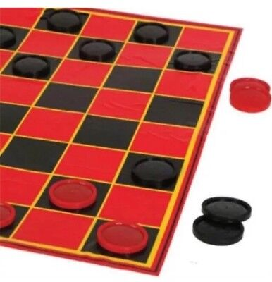25 Piece Plastic Foldable Board Jumbo Checkers Chips Game Set 20