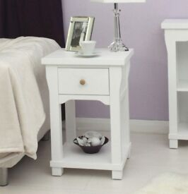 Modern White Lamp Table with One Drawer NEW