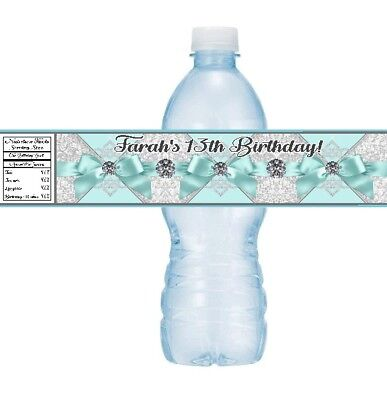 12 Tiffany Blue Ribbon Diamonds Birthday Party Baby Shower Water Bottle Stickers