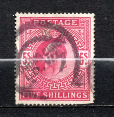 Great Britain KE VII era used 5/- red, stamps as per scan(10309)