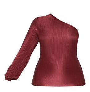 Plisse - One-Shoulder Top (BURGUNDY)