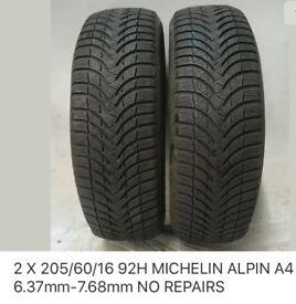 Four van Tyres 205/60/16 92H part worn. Price reduced 5 nov.