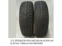 Two 205/60/16 92H Michelin Alpin A4 tyres